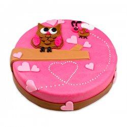 Sova – růžový dort
